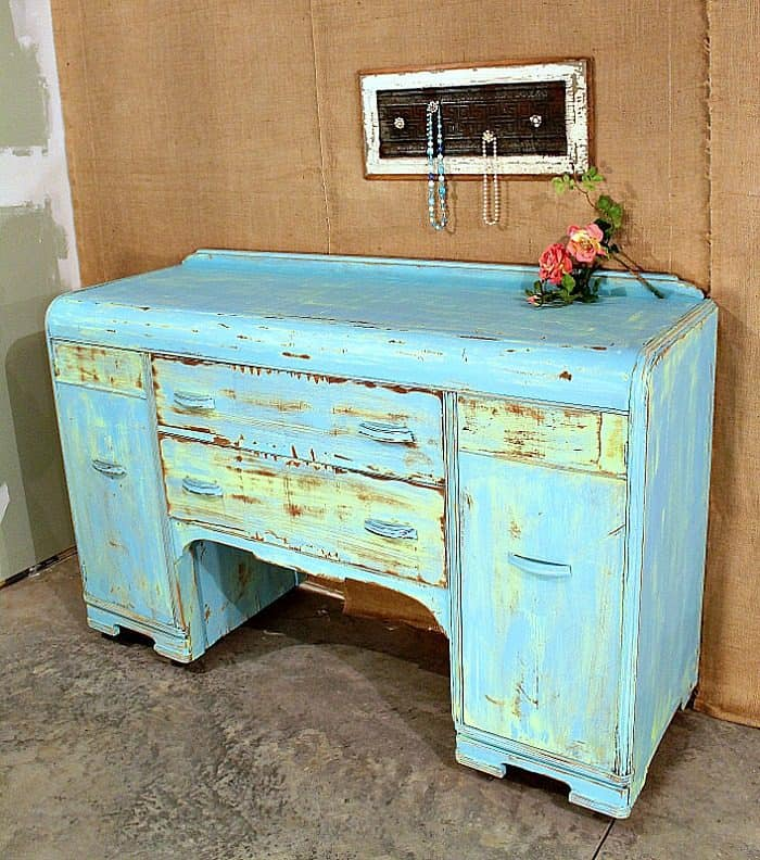 Painted buffet two-tone blue and yellow heavily distressed