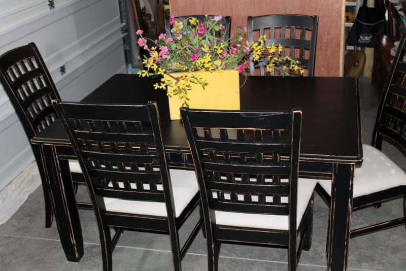 Distressed Black Dining Room Table