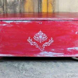 Cherry Red and Turquoise Painted Cedar Chest