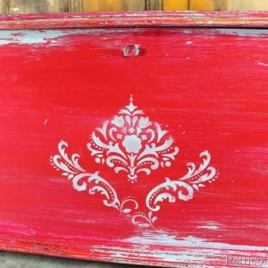 Paint Technique for Cherry Red and Turquoise Distressed Cedar Chest