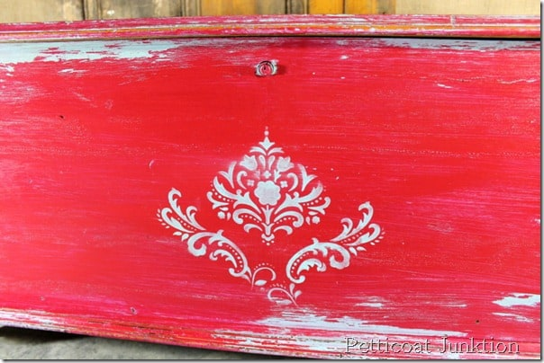 stenciled-painted-distressed-cedar chest