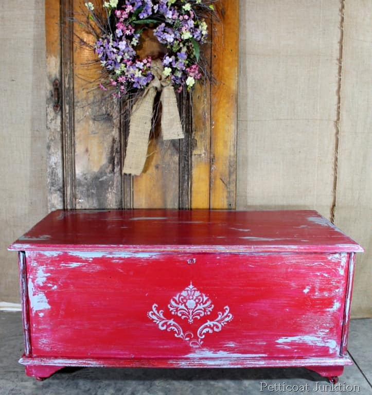 Cherry Red and Turquoise Painted Cedar Chest Petticoat