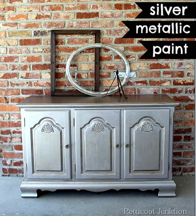 how to antique furniture- furniture makeover silver metallic paint petticoat junktion