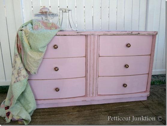 pink-dresser-makeover-petticoat Junktion