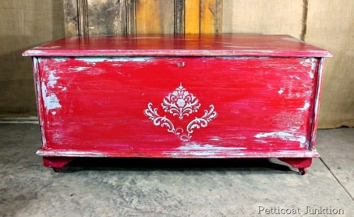 turquoise and cherry red cedar chest distressed with Vaseline