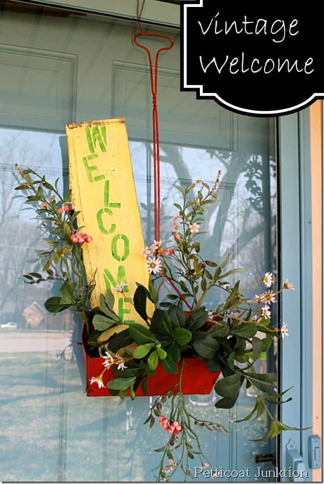 vintage dustpan door wreath