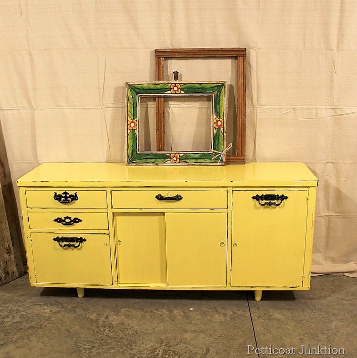 painted furniture before and after yellow credenza