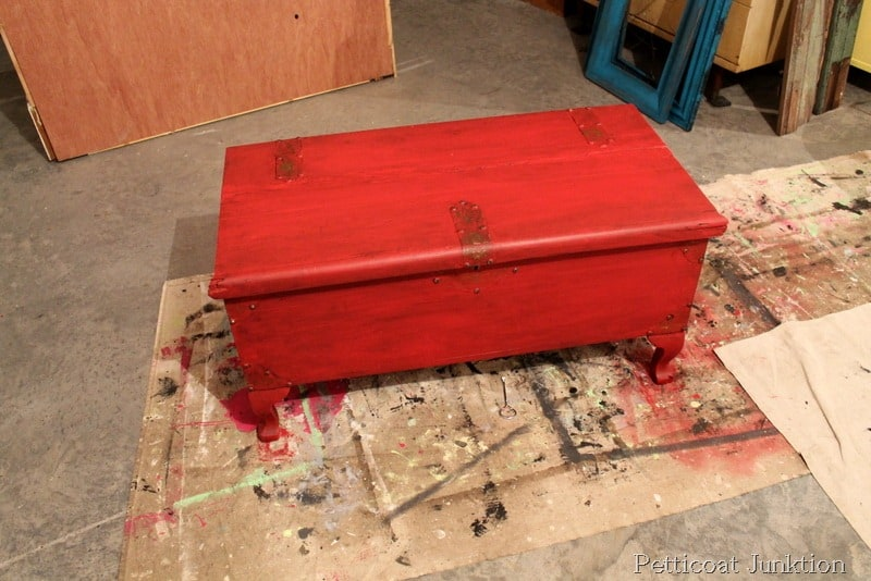 Red Turquoise Distressed Chest Diy Craft