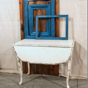 Vintage White Chalk Paint Drop Leaf Table and Turquoise Spray Painted Frames