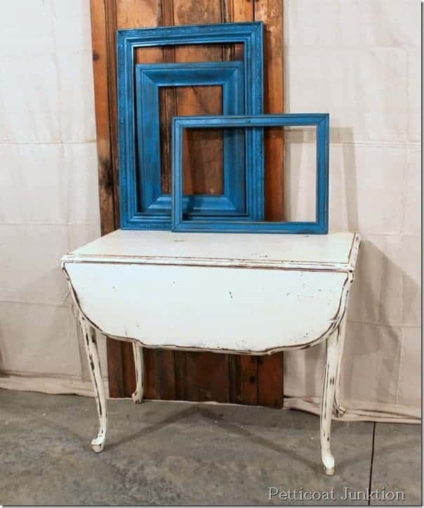vintage-white-painted-table-spray-paint-frames-turquoise
