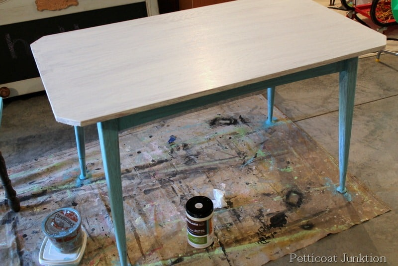 Turquoise Grain Sack Painted Table Before After