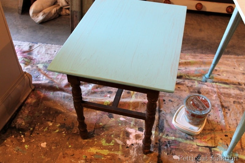 Perfect Turquoise Grain Sack Painted Table Before After