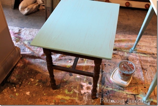 turquoise-grain-sack-painted-table-before-after