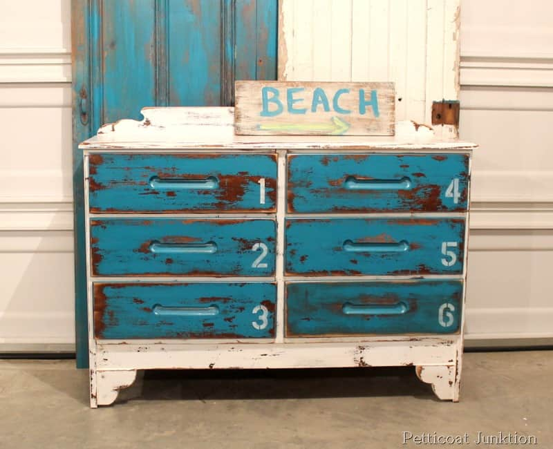 stenciled blue and white beach inspired dresser petticoat junktion