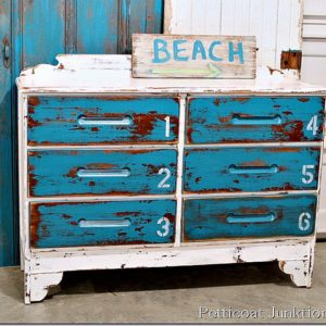 Stenciled Blue and White Beach Inspired Dresser