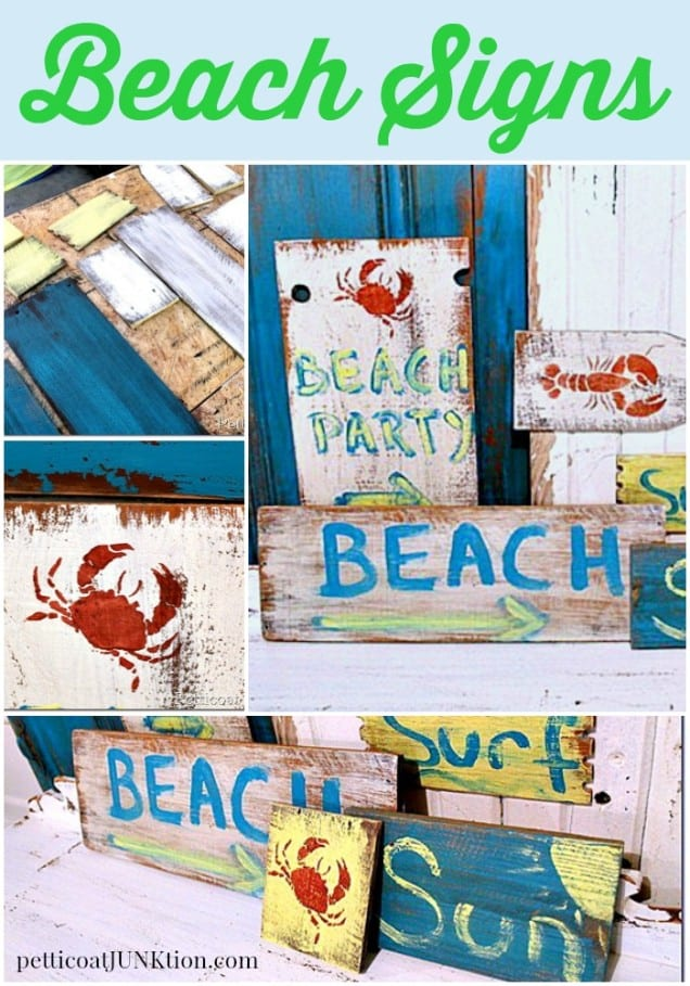 Beach sign diy from reclaimed wood Petticoat Junktion