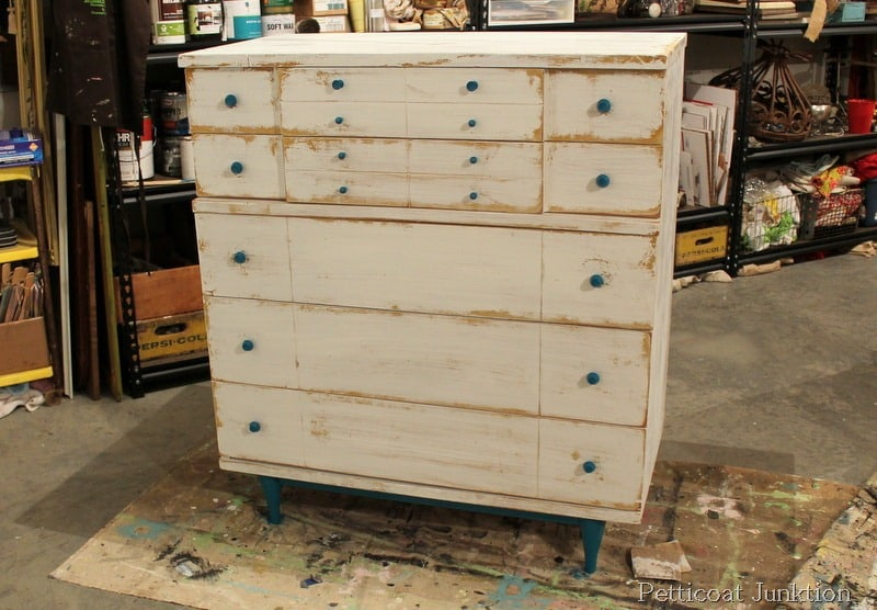 Nautical Chest Painte Makeover Before After