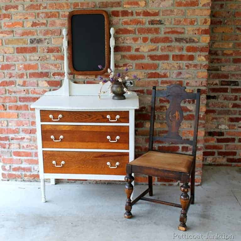 white-paint-oak-finish-dresser-before-after-petticoat junktion