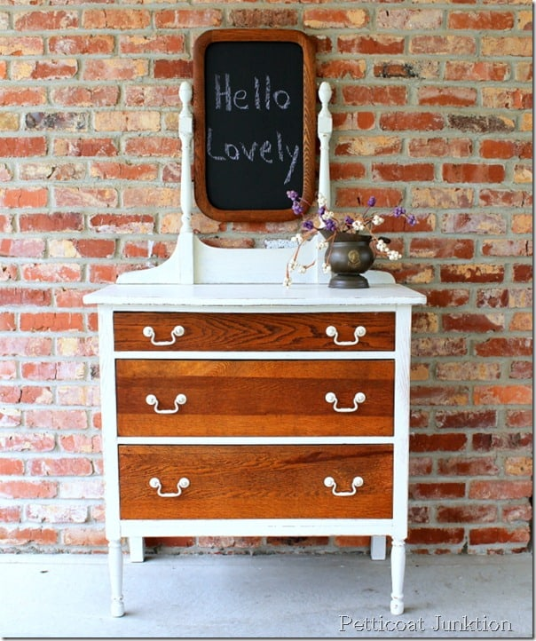 white-paint-oak-finish-furniture-before-after-petticoat junktion