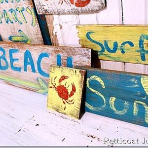 Salvage Saturday, Reclaimed Wood Rustic Beach Signs