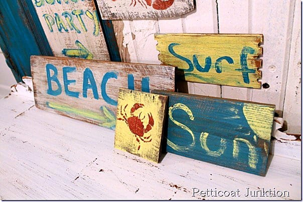 beach inspired signs from reclaimed wood petticoat junktion