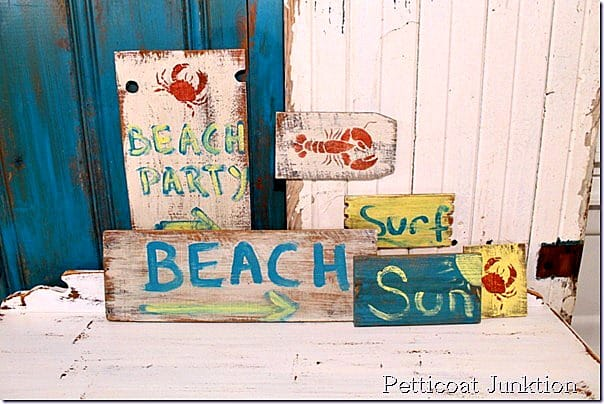 fun beach signs from reclaimed wood