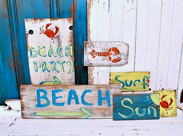 fun beach signs
