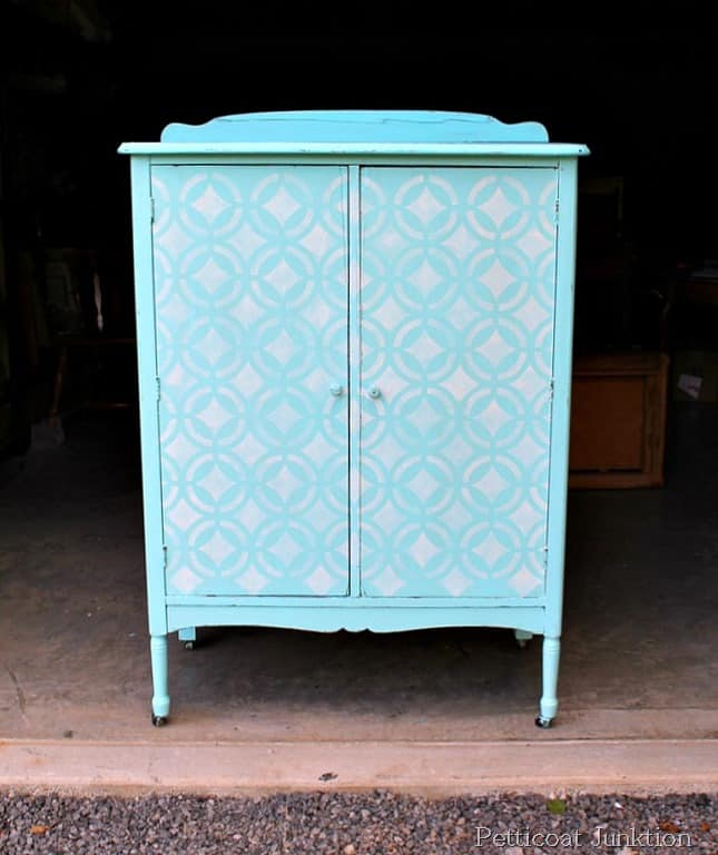 Stenciled turquoise wardrobe fit for a princess petticoat - Paint stencils for furniture ...