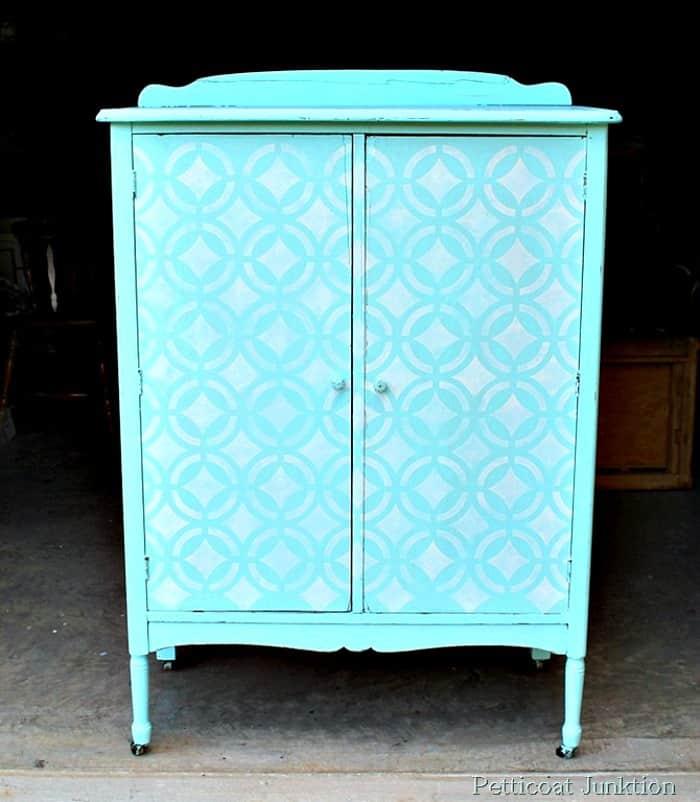 Stenciled Chandelier Surprise on the inside of wardrobe door