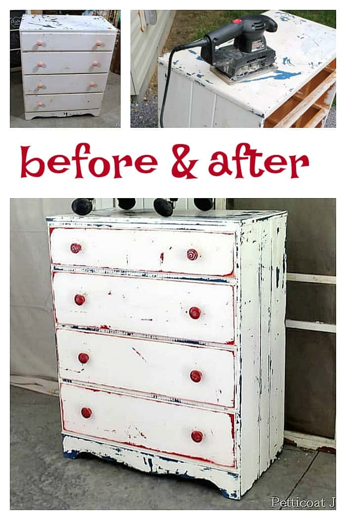 before and after furniture makeover on a flea market find