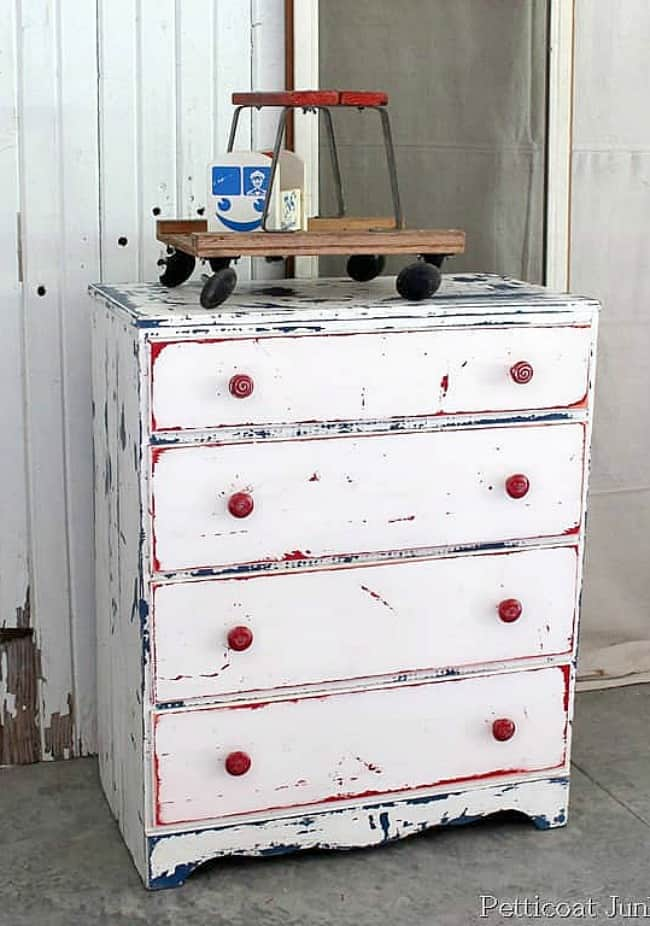 distressed furniture is red white and blue