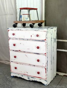 red white and blue furniture upcycle project