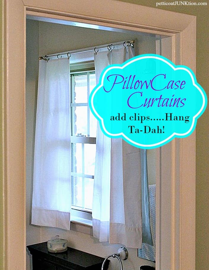 white pillowcase curtains straight from the package hang with metal curtain clips Petticoat Junktion graphic