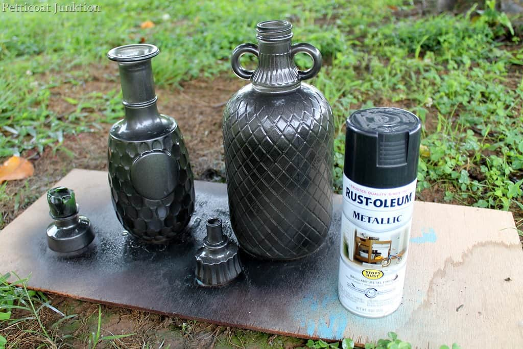 Diy spray paint glass decanters for home decor petticoat junktion Black metal spray paint