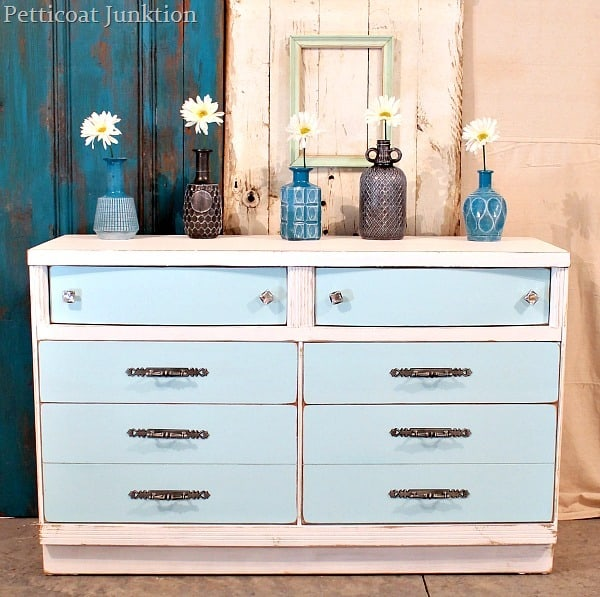 Painted Furniture Makeover In Aqua And Blue