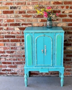 Vintage Radio Cabinet Painted Turquoise and Green