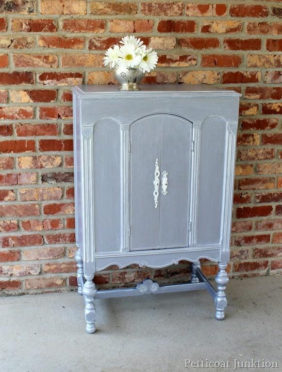 Martha Precious Metals Painted Silver Cabinet