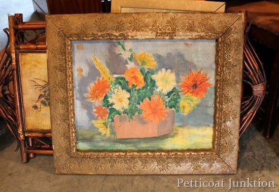 mantel-display-salvaged-oil-painting