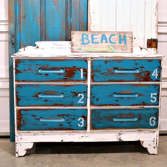 latex paint for this beach inspired dresser