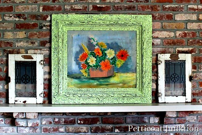 salvaged oil painting Petticoat Junktion mantel display