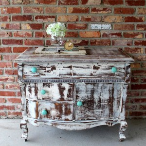 Turquoise Knobs And A Distressed Shabby White Dresser