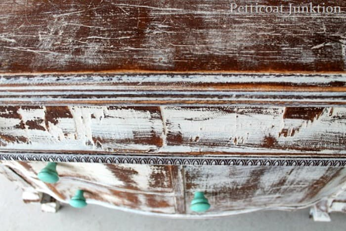 distressed shabby chic white vintage dresser Petticoat Junktion