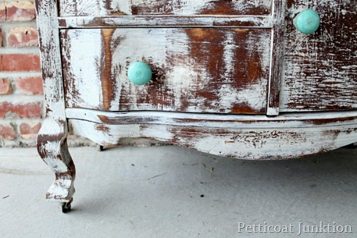 distressed shabby white dresser and turquoise knobs Petticoat JUnktion