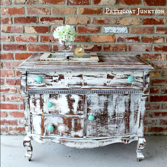 shabby-chic-heavily-distressed-vintage-dresser-with-turquoise-wood-knobs-petticoat-junktion project