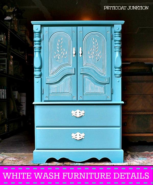 white wash furniture details on a turquoise chest