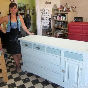Pearl Blue and Red Painted Furniture- A Paint Workshop