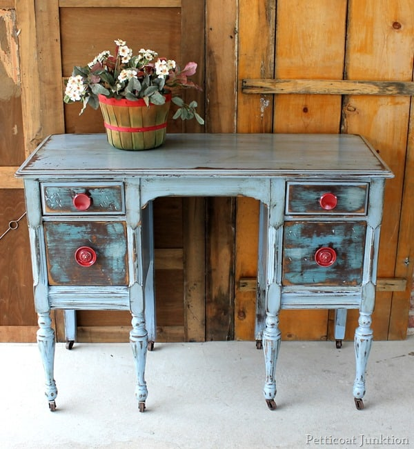 blue paint red hardware furniture makeover