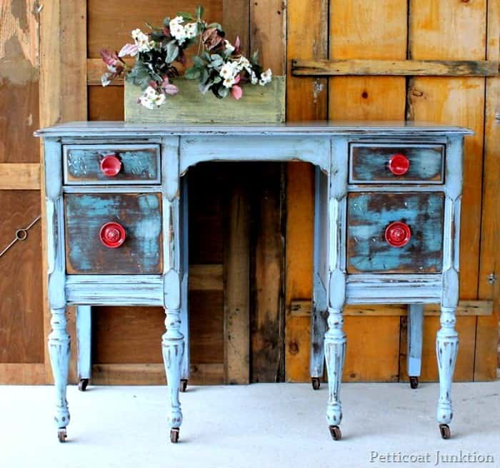 distressed furniture with red knobs Petticoat Junktion