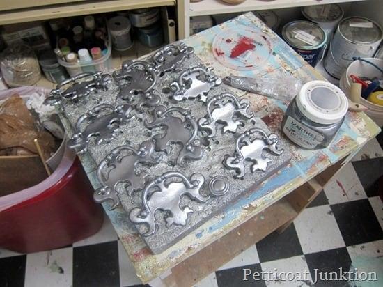 hardware painted using Martha Stewart Metallic