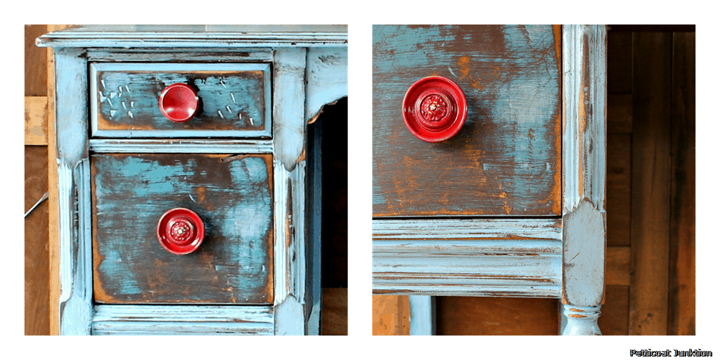 Bright Is Always Better. Red Drawer Pulls Distressed Dresser